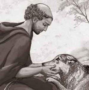 Francisco acaricia al lobo de Gubio